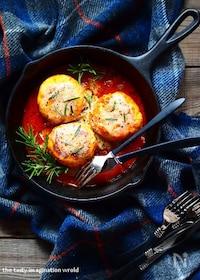 『鶏むね肉とおからの煮込みハンバーグ』