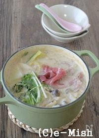 『【アーモンドミルク】豚肉と白菜のアーモンドミルク鍋』