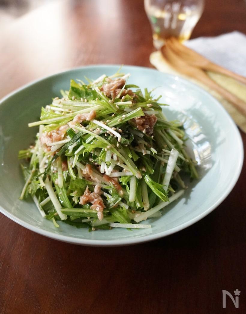 4. 水菜と梅しそのサラダ