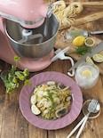 山椒を練り込んた生パスタで!鱧と椎茸の柚子風味パスタ