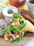 チーズと大豆の卵ラップサラダ