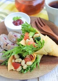『チーズと大豆の卵ラップサラダ』