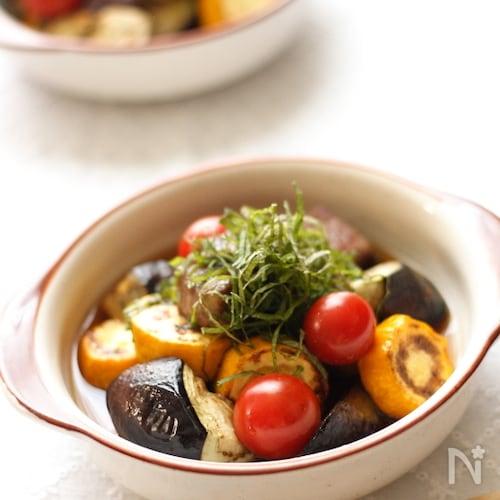 サイコロステーキと夏野菜の焼き浸し