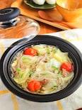 キャベツと豚肉のうま塩春雨スープ