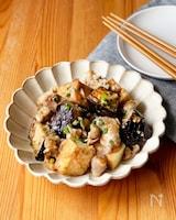 厚揚げとなすと豚肉の生姜味噌炒め