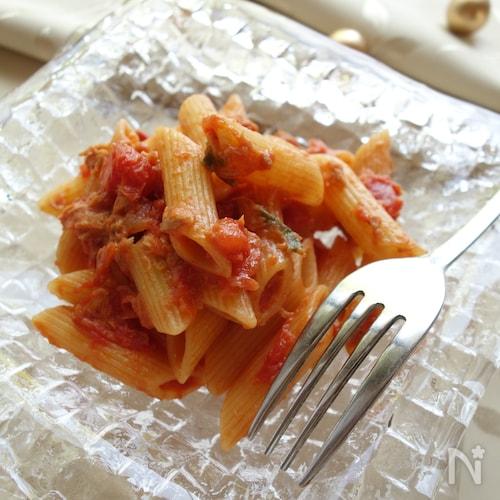 【包丁不使用】トマト缶とツナとバジルのペンネ