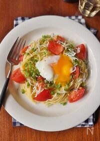 『トマトとシラスの冷製月見パスタ』