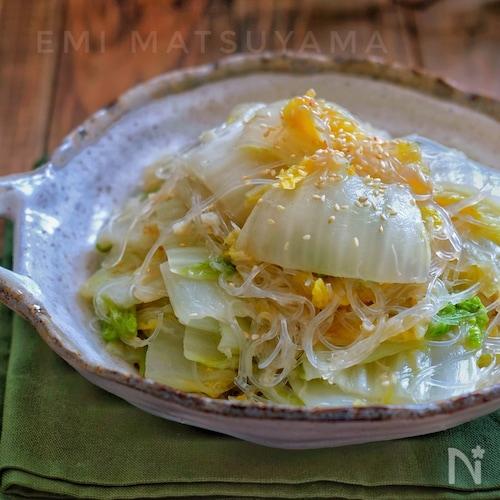 *白菜とホタテ缶の春雨炒め*