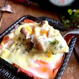 ふふおつまみ【ベーコンエッグのチーズ焼き】