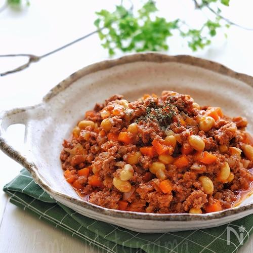 【らくレピ】レンジで簡単!トマト缶不要!大豆のチリコンカン風