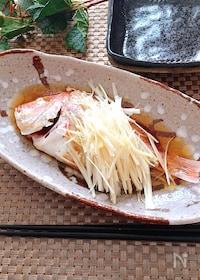 『レンジ調理で簡単♡鯛の中華蒸しアツアツごま油がけ』