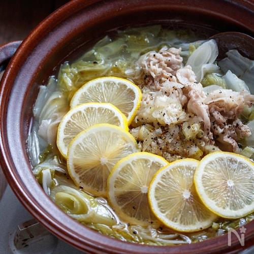 豚バラ白菜のネギ塩レモン鍋【#簡単 #節約 #やみつき】