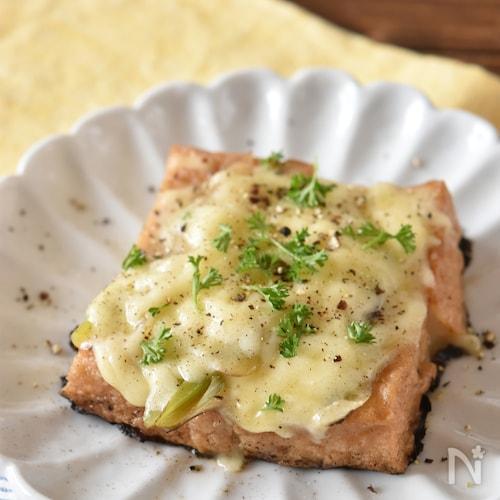 厚揚げ豆腐と長ネギの煮物のチーズステーキ【アレンジ】