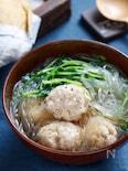 鶏団子と豆苗の中華風春雨スープ【#水戻し不要 #包丁不要】