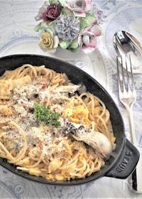 『牡蠣と白菜のクリームパスタ』