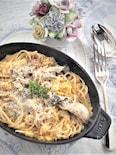 牡蠣と白菜のクリームパスタ