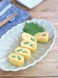 簡単アレンジ卵☆グリーンピースのだし巻き卵