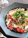 たこと薬味野菜の和風冷製パスタ