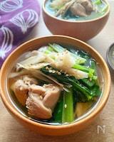 鶏ごぼうと小松菜の生姜スープ
