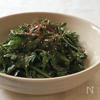 春菊のサラダ ピリ辛味噌ドレッシング