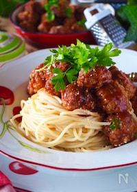 『【ポリ袋ミートボール応用】豆腐ミートボールのスパゲッティ』