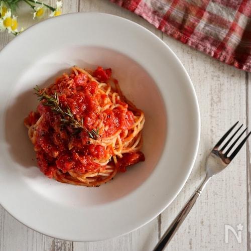 【隠し味は〇〇!?】ツナのトマトパスタ