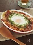 朝ごはんに♪チーズと卵がとろ~り、トマタマチー焼きリゾット