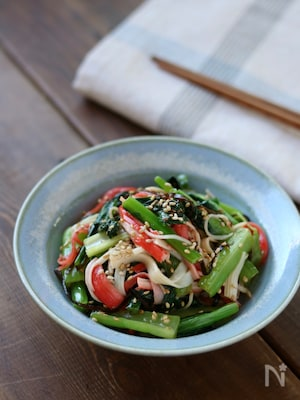 小松菜とカニカマの塩昆布和え