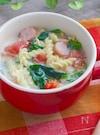 レンジで簡単!ほうれん草とトマトの豆乳パスタ