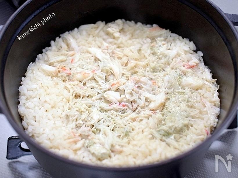 ストウブの鍋で炊いた、カニめし
