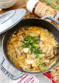 『味付け一つ♪きのこと豆腐の中華風かき玉スープ』