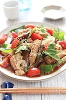 レンチンで!豚肉と茄子とトマトと香味野菜のポン酢和え