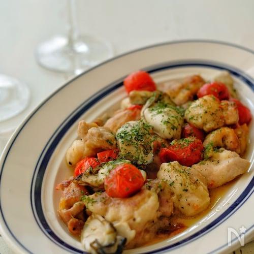 *鶏肉と牡蠣のアクアパッツァ風*簡単!白ワイン不要!