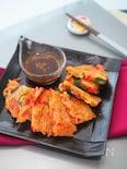 豚バラ肉とカラーピーマンのチヂミ
