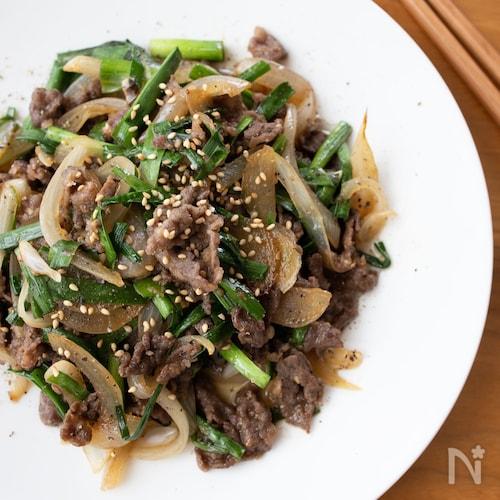 牛肉とニラのうま辛炒め*