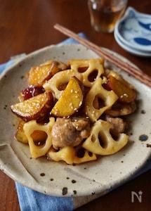 根菜と鶏肉の甘酢炒め