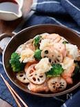 鮭と野菜のぎゅうぎゅう焼き〜おろしポン酢で〜【#フライパン】