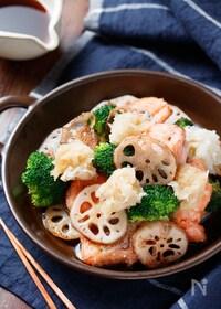 『鮭と野菜のぎゅうぎゅう焼き〜おろしポン酢で〜【#フライパン】』