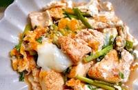 焼いた豆腐でボリューム♪豆腐とニラのたまごとじ