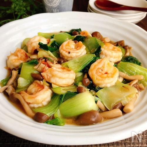 海老とチンゲン菜の中華炒め