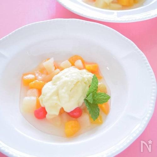マスカルポーネチーズと黄桃のアイスクリーム 初夏のおもてなし