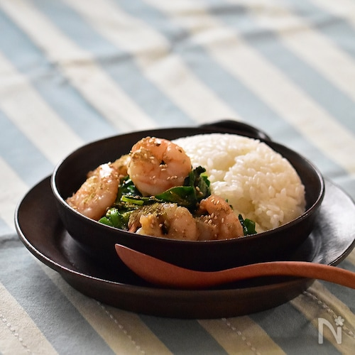 海老と青菜のタイ風炒め丼