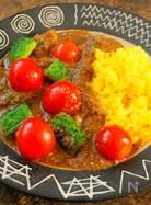 夏野菜ごろごろと・・・ ゴーヤーとトマトのキーマカレー