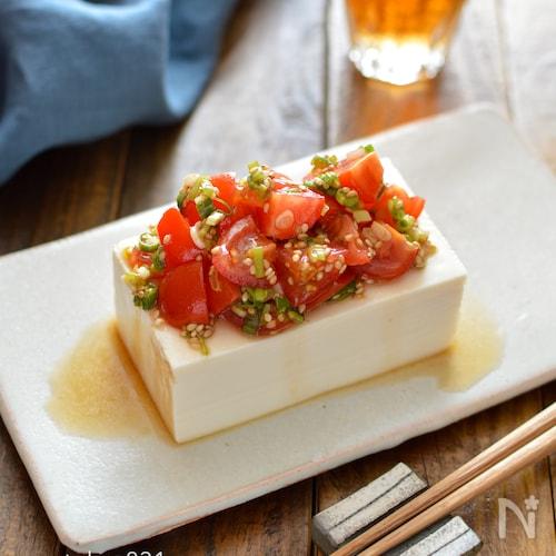 トマトねぎ冷奴。簡単!絹ごし豆腐で中華風のおかず、おつまみ。