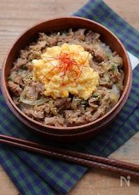 『【15分弁当】レンジ調理で♡ふわふわ卵の豚丼』