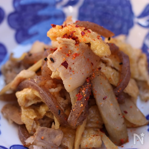 ゴボウと豚バラ肉のうま味炒め