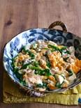 豚こまと豆腐とニラのスタミナとろみ卵炒め
