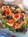 韓国風プリプリ海老と味玉と豆もやしのごちそうサラダ