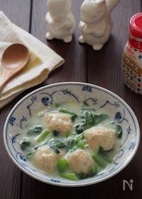 『鶏だんごと小松菜の豆乳煮』
