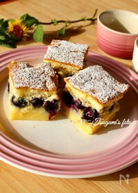 『イタリア発!美しい3層が魅力♡ブルーベリーのマジックケーキ』